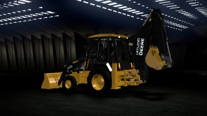 A frame from a 3D animated scene of Leyland Deere 435 Backhoe Loader